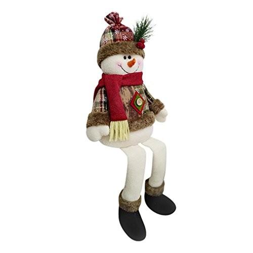 Creazy Sitting Christmas Santa Claus Snowman Elk Xmas Ornament Window Decoration (b)