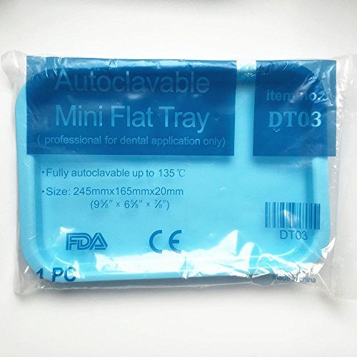 6 Pcs Dental Instrument autoclavable plastic trays Mini flat Blue