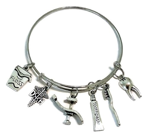 Kit's Kiss Dentist bracelet, Dental Hygienist bracelet, DH bracelet, Dental, floss, tooth, toothpaste, toothbrust, Dental bed charm bracelet, Dental Hygienist bangle bracelet