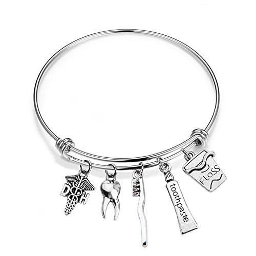 WUSUANED Dental Hygienist Gift DH Caduceus Tooth Toothbrush Toothpaste Floss Stainless Steel Expandable Wire Bangle Bracelet (DH bracelet)