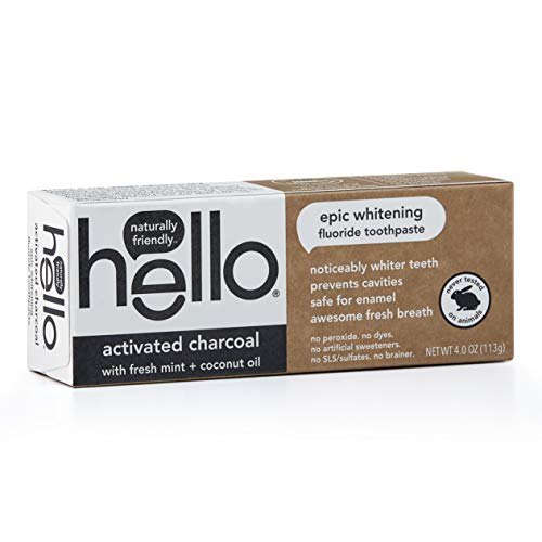 Hello Oral Care Activated Charcoal Fluoride Whitening Toothpaste, Vegan & SLS Free, 4 Ounce