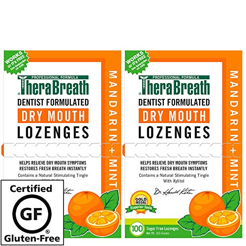 TheraBreath – Dry Mouth Lozenges – Mandarin Mint Flavor – Soothes Dry Mouth Symptoms – Certified Vegan  – Sugar Free – Dentist Formulated Lozenges – 100 Count, Pack of 2